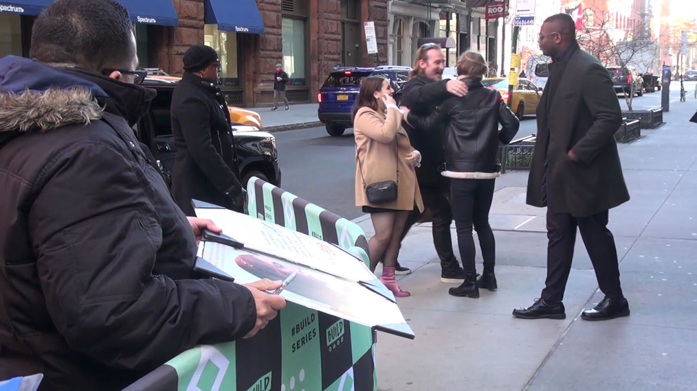 Beanie Feldstein signs for fans at BUILD Series in New York City.mp4