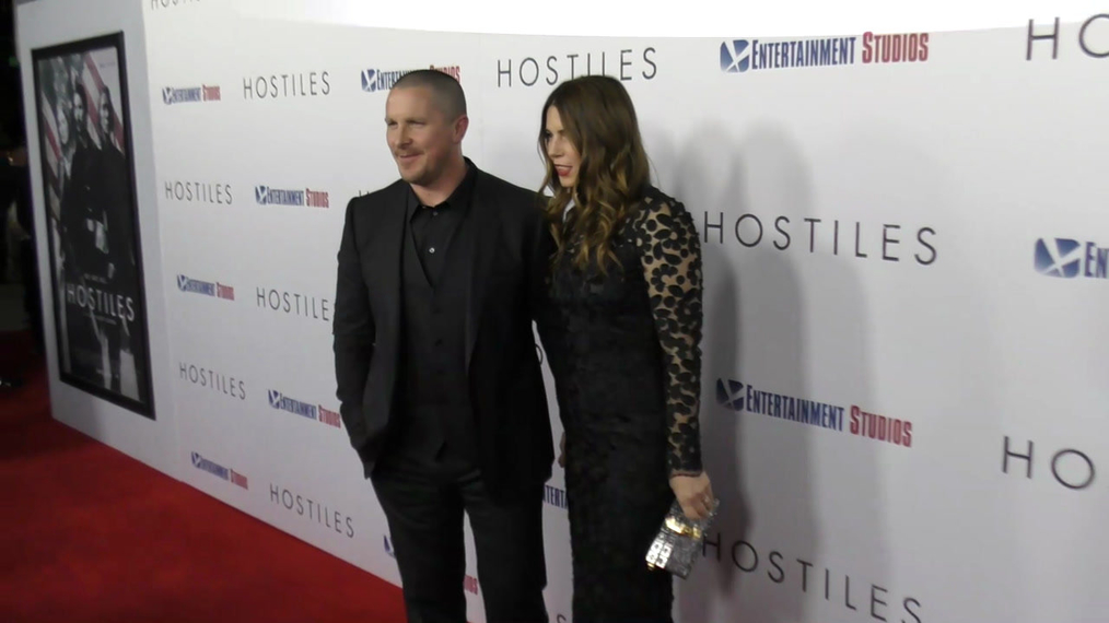 Christian Bale and Sibi Blazic at the Hostiles Premiere at Samuel Goldwyn Theater in Beverly Hills.mp4