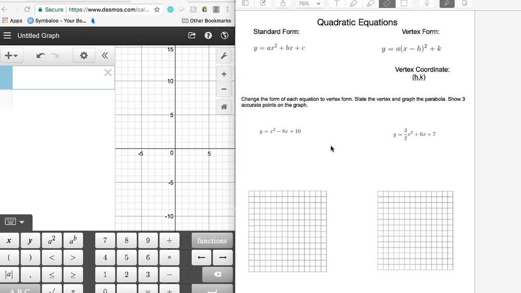 Quadratics- Converting from standard to vertex form.mp4