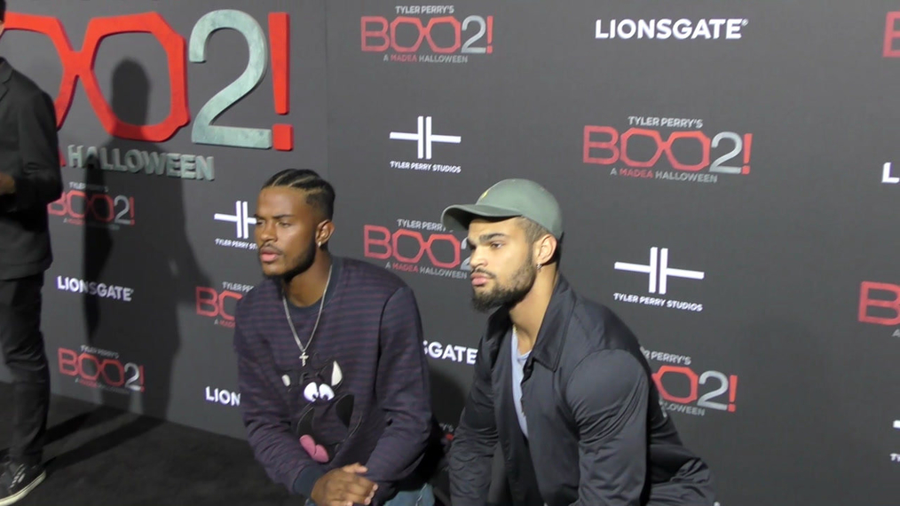 Trevor Jackson and Rashan Jackson at the Tyler Perry's Boo 2! A Madea Halloween Premiere at Regal LA Live Theatre in Los Angeles.mp4