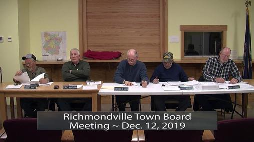 Richmondville Town Board Meeting -- Dec.12,2019