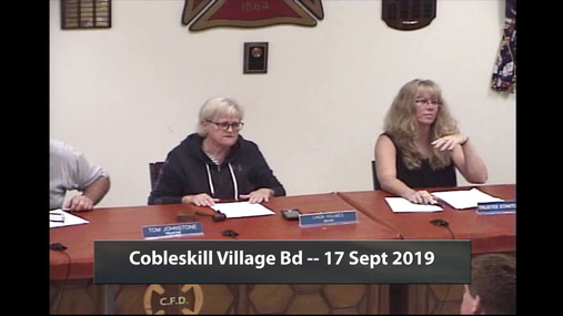 Cobleskill Village Bd -- 17 Sept 2019