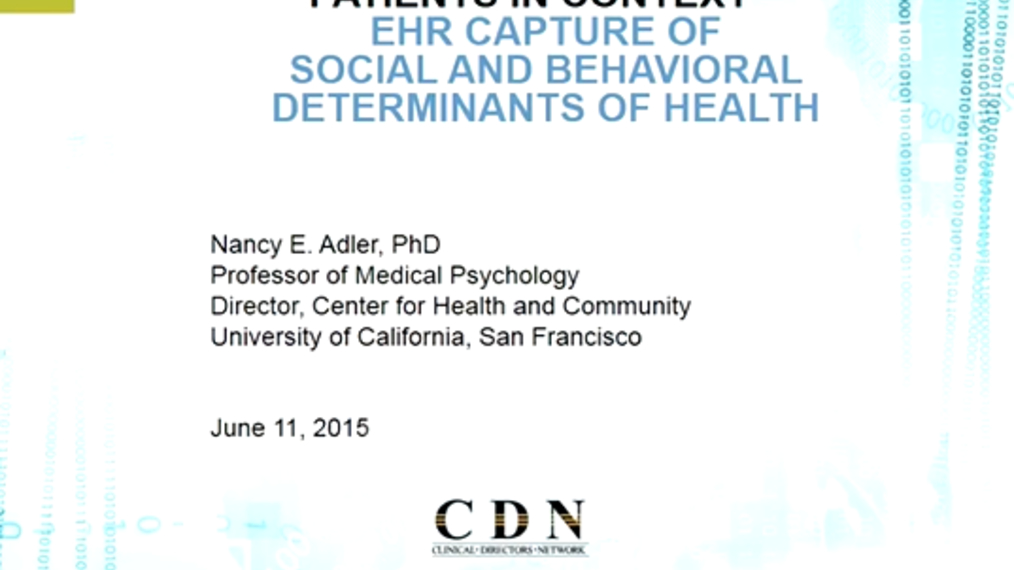 Patients in Context: EHR Capture of Social and Behavioral Determinants of Health: Meet the Author