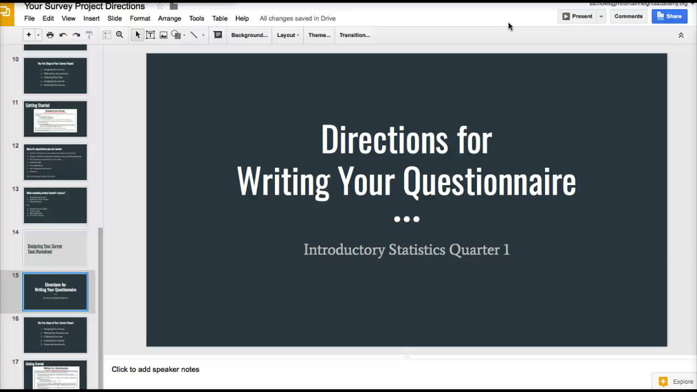 Directions for Writing Your Questionnaire