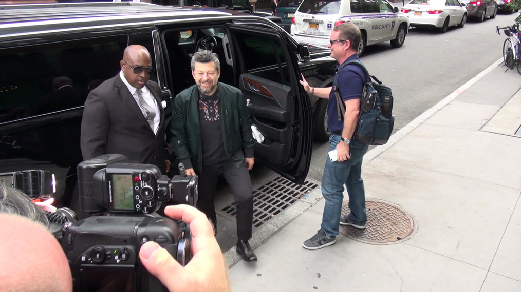 Andy Serkis outside the BUILD Series in New York.mp4