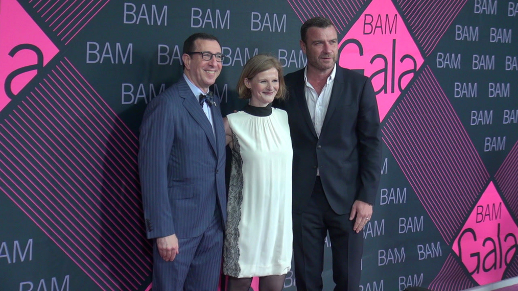 Adam E. Max, Katy Clark and Liev Schreiber attends the BAM Gala 2018 at Brooklyn Cruise Terminal in New York.mp4