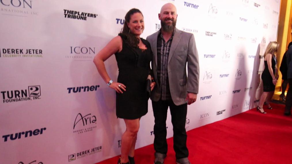 Jesse Crain and Becky Crain attend the 2018 Derek Jeter Celebrity Invitational Gala at the Aria Resort & Casino in Las Vegas.mp4