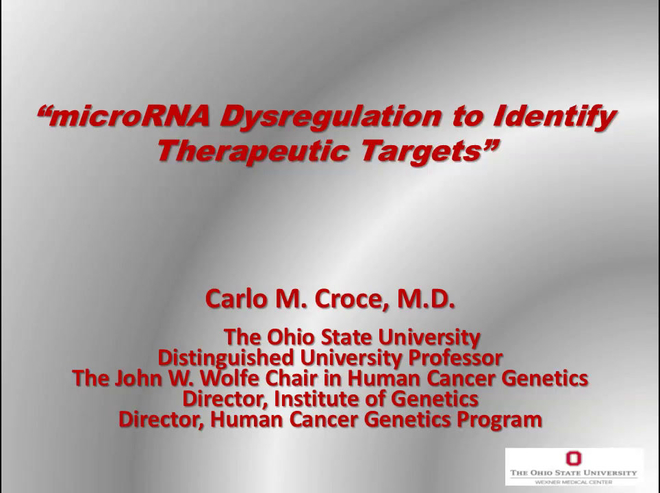 microRNA Dysregulation to Identify Therapeutic Targets