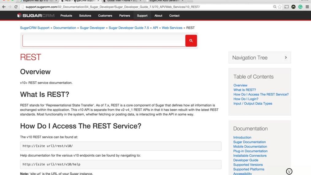 SugarCRM - Accessing the REST v10 API Documentation