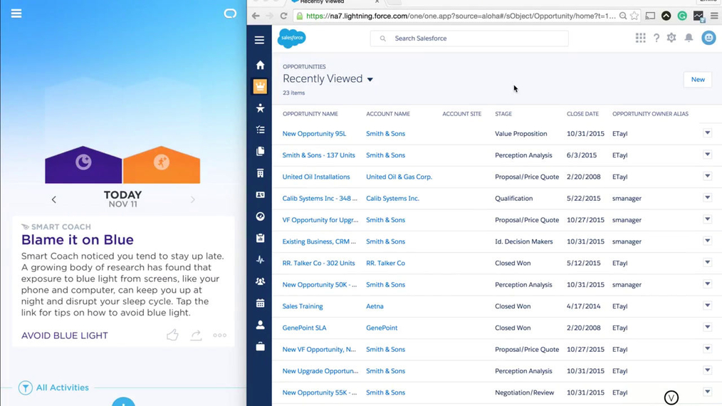Monitor Salesforce Updates inside UP by Jawbone App