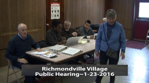 Richmondville Village Public Hearing 23-Jan 2016