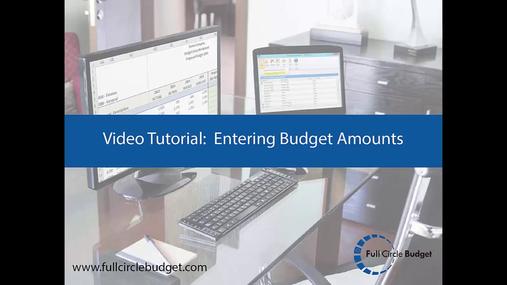 Full Circle Budget Entering Budget Amounts