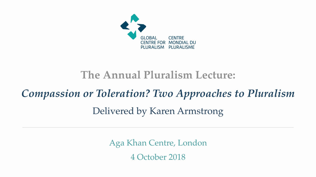 Annual Pluralism Lecture 2018 with Karen Armstrong