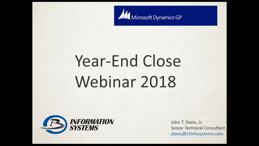 Dynamics GP - Preparing for Year End