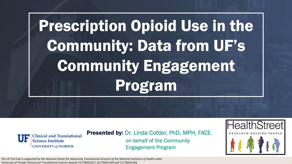Prescription Pain Medication Use in the Community