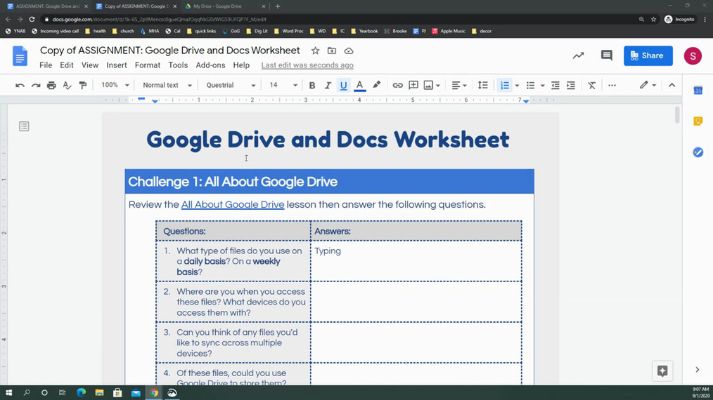 Google Drive and Docs Worksheet Homework Help