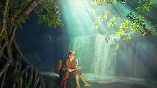girl, waterfall