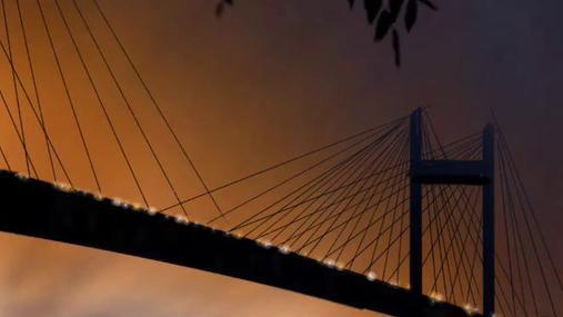 bridge, storm, lightning, tree, river, lights