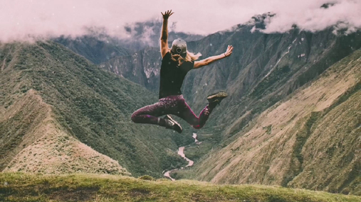 Jump in the mountains
