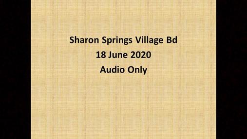 Sharon Springs Village Bd -- 18 June 2020