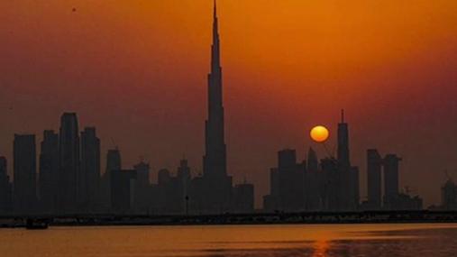 Sunset at the city coast