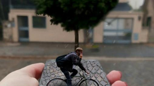 bycicle, hand, rain, tree, street