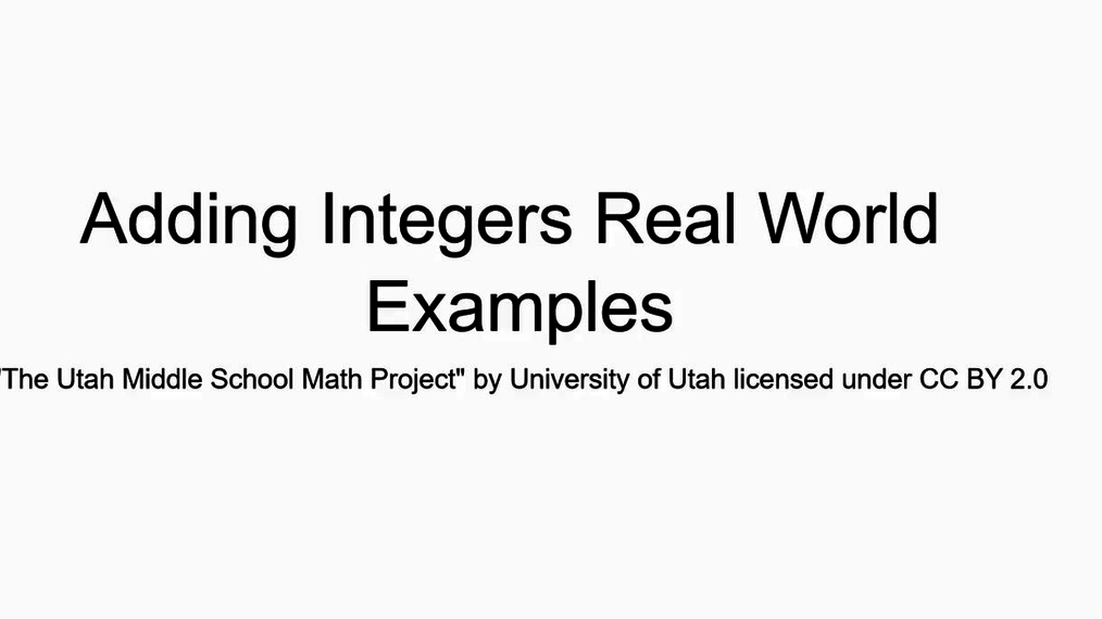 Math 7 Adding Integers Real World Examples