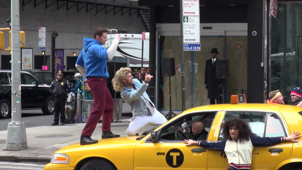 James Corden, Hugh Jackman, Zac Efron and Zendaya dancing on Broadway while filming a skit in New York.mp4