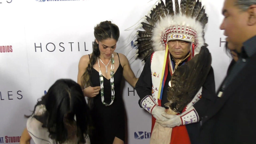 Chris Eyre, Joely Browfit, Q'orianka Kilcher, Chief Phillip Whiteman Jr and Lynette Two Bulls at the Hostiles Premiere at Samuel Goldwyn Theater in Beverly Hills.mp4