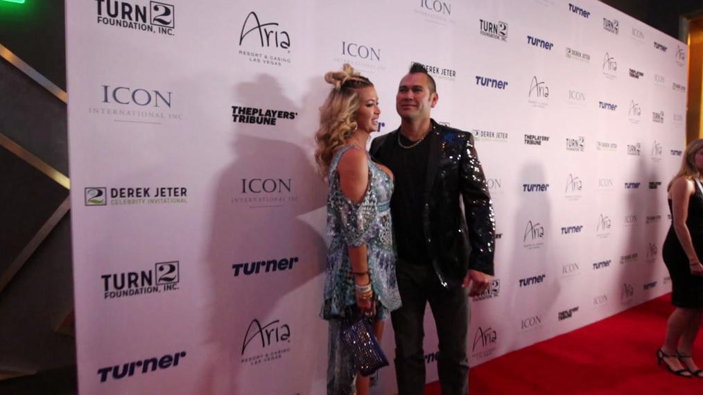 Johnny Damon and Michelle Damon attend the 2018 Derek Jeter Celebrity Invitational Gala at the Aria Resort & Casino in Las Vegas.mp4