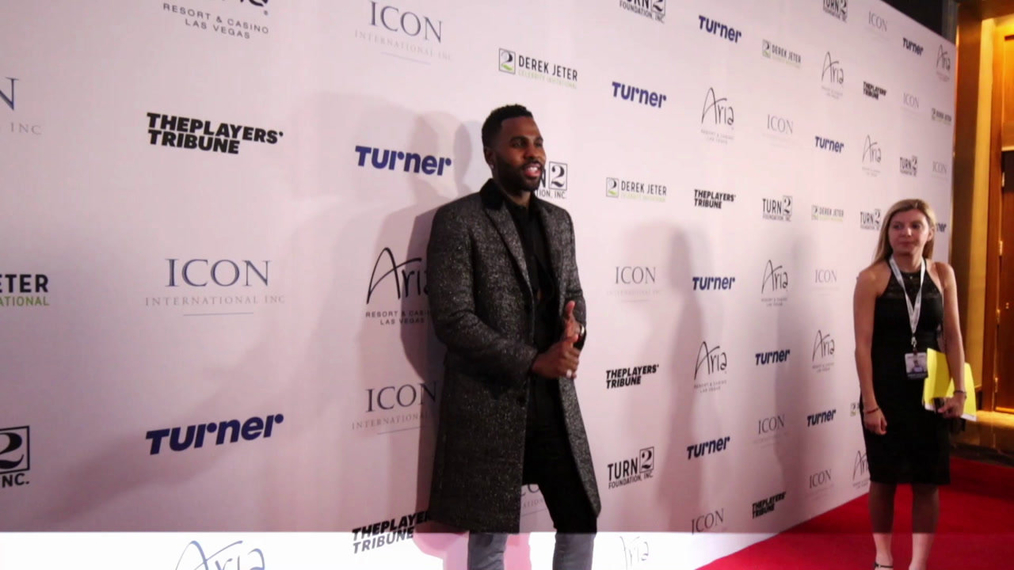 Jason Derulo attends the 2018 Derek Jeter Celebrity Invitational Gala at the Aria Resort & Casino in Las Vegas.mp4