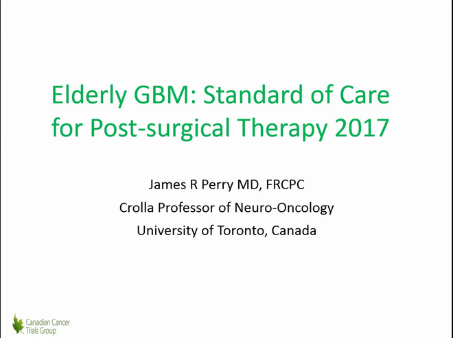 Elderly GBM: Standard of Care for Post-surgical Therapy 2017
