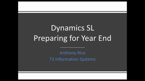Dynamics SL - Preparing for Year End