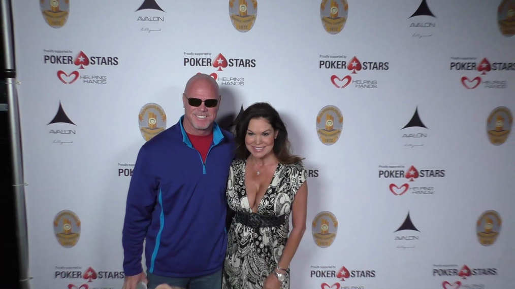 Jim McMahon and Paula Trickey at the Los Angeles Police Memorial Foundation Celebrity Poker Tournament at Avalon Nightclub in Hollywood.mp4