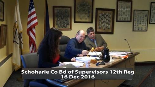 Schoharie Co Bd of Supervisors 12th Reg -- 16 Dec 2016