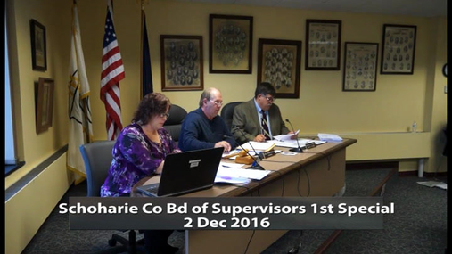 Schoharie Co Bd of Supervisors 1st Special -- 2 Dec 2016