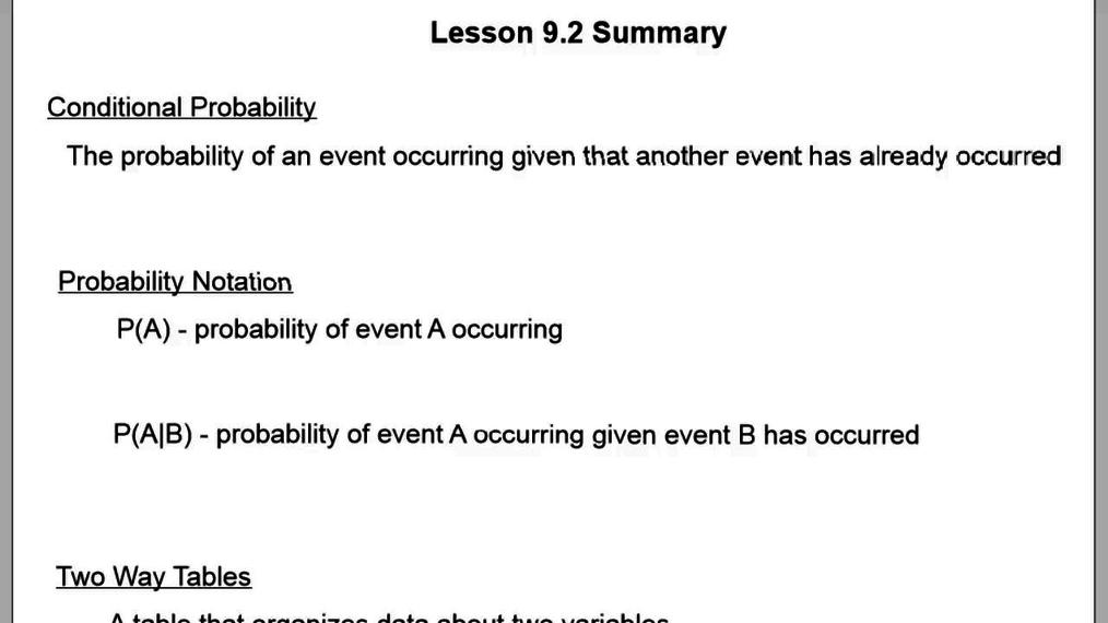 Lesson 9.2 Summary.vid