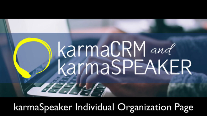 Overview of the Individual Organization Page in karmaSpeaker