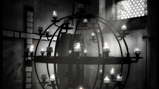 Black orb with candles