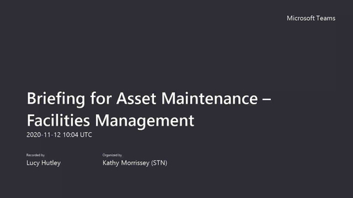Briefing for Asset Maintenance – Facilities Management.mp4